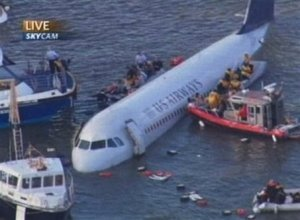 New York Plane in River